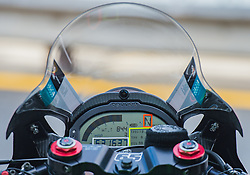 February 25, 2018 - Melbourne, Victoria, Australia - General view of the tachometer on the bike belonging to British rider Jonathan Rea (#1) of Kawasaki Racing Team before the morning warm up session day 3 of the opening round of the 2018 World Superbike season at the Phillip Island circuit in Phillip Island, Australia. (Credit Image: © Theo Karanikos via ZUMA Wire)