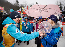 23.03.2014, Planica, Ratece, SLO, FIS Weltcup Ski Sprung, Planica, Siegerehrung, Skisprung, Gesamtwertung, im Bild Kamil Stoch, Ewa Bilan Stoch / Kamil Stoch, Ewa Bilan Stoch on podium of overall mens FIS Ski jumping Worldcup Cup at Planica in Ratece, Slovenia on 2014/03/23. EXPA Pictures © 2014, PhotoCredit: EXPA/ Newspix/ Irek Dorozanski<br /> <br /> *****ATTENTION - for AUT, SLO, CRO, SRB, BIH, MAZ, TUR, SUI, SWE only*****