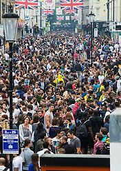 London, August 30th 2015. Thousands of people flood Portobello Road as revellers enjoy day one of the Notting Hill Carnival.