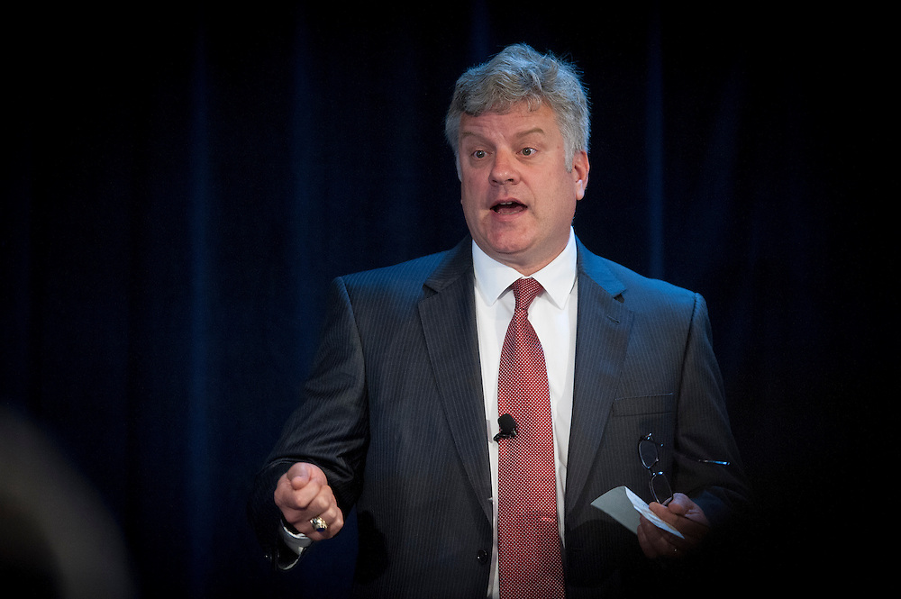"""Dr. Steve Walker, Deputy Director of the Defense Advanced Research Projects Agency, welcomes attendees to the """"Biology Is Technology"""" symposium in New York City on June 23, 2015. The two-day event was held by DARPA's Biological Technologies Office to bring together leading-edge technologists, start-ups, industry, and academic researchers to look at how advances in engineering and information sciences can be used to drive biology for technological advantage."""