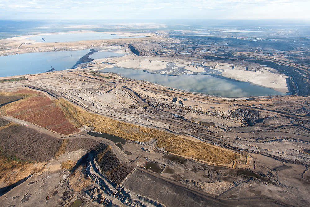 Tailing pond for waste and surrounding tar sands mining operations at Syncrude Aurora North