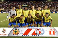 18/07/04 - PIURA - PERU - COPA AMERICA PERU 2004 - AMERICAN CUP  - <br />Brazilian Team Vs. Mexico - Quearterfinal - <br />N*1 JULIO CESAR - N*3 LUISAO - N*4 JUAN - N*11 EDU - N*6 GUSTAVO NERY - N*7 ADRIANO - N*8 KLEBERSON - N*9 LUIS FABIANO - N*10 ALEX - N*13 MAICON - N*5 RENATO.<br />© Gabriel Piko /Argenpress.com<br /><br />Quarterfinals match of the Copa America 2004 - <br />BRAZIL (4) VS. MEXICO (0) - BRASIL - <br />© Gabriel Piko /Argenpress.com