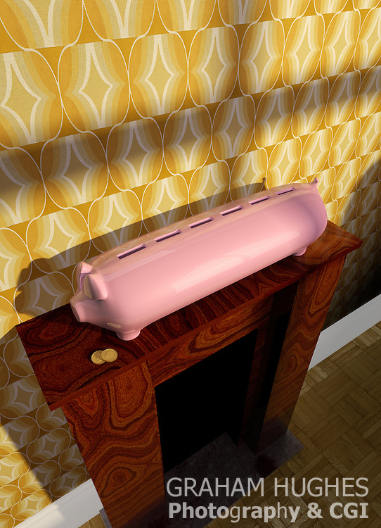 Stretch Pink Piggy Bank On Wooden Mantle Piece. Retro Wallpaper On Wall Behind.