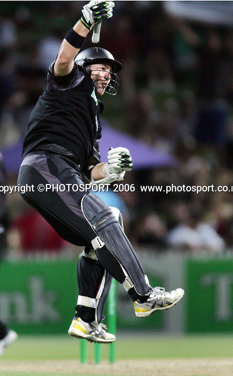 New Zealand batsman Craig McMillan celebrates his century during the 3rd Chappell Hadlee one day match at Seddon Park, Hamilton, New Zealand on Tuesday 20 February 2007. Photo: Andrew Cornaga/PHOTOSPORT<br />