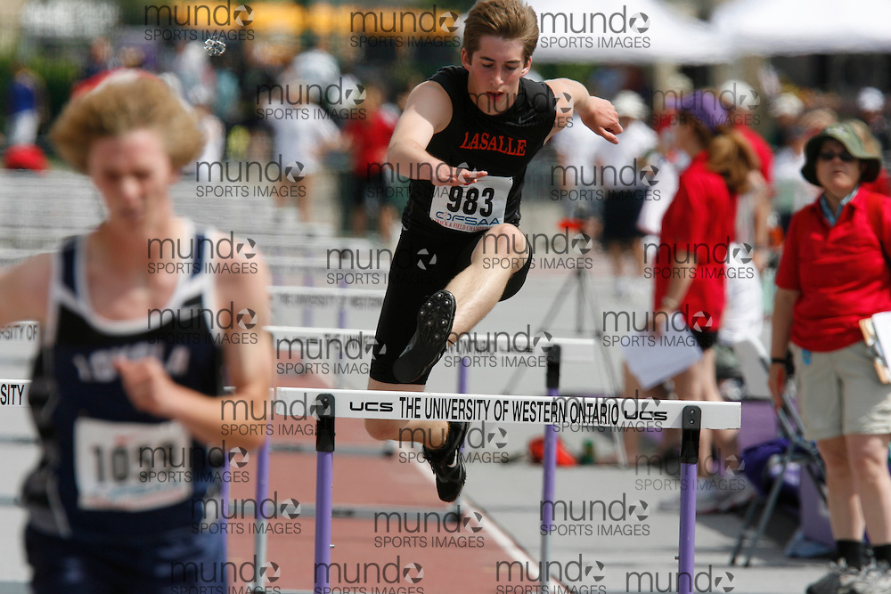 (London, Ontario}---04 June 2010) Shawn Lavallie of LaSalle - Sudbury competing in the sprint hurdles at the 2010 OFSAA Ontario High School Track and Field Championships in London, Ontario, June 04, 2010 . Photograph copyright Dave Chidley / Mundo Sport Images, 2010.