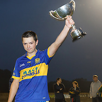 Newmarket-on-Fergus's Captain Paudie McMahon rasies the Fay Marren cup after their Minor B FInal win