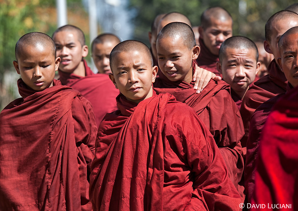 A group of young monks during Phaung Daw Oo Pagoda Festival in Nyaungshwe.