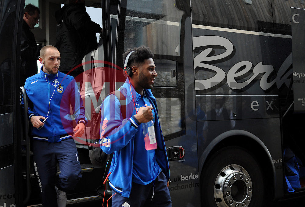 The players, Ellis Harrison(R) and Adam Dawson(L), arrive at Dartford - Photo mandatory by-line: Neil Brookman/JMP - Mobile: 07966 386802 - 31/01/2015 - SPORT - Football - Dartford - Princes Park - Dartford v Bristol Rovers - Vanarama Football Conference