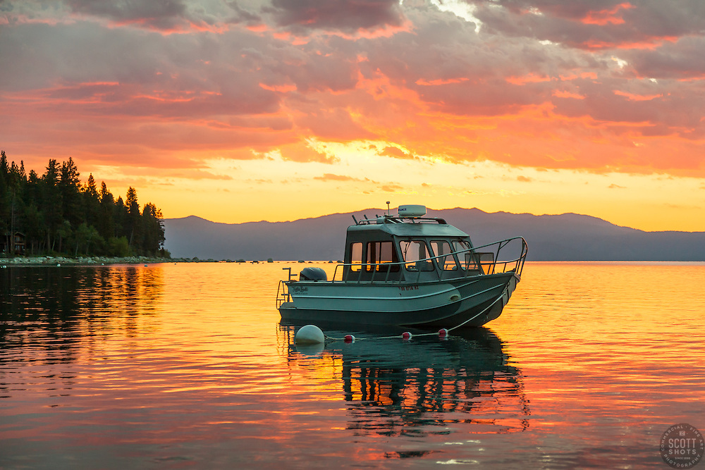 """Fishing Boat on Lake Tahoe 6"" - Photograph of a buoyed fishing boat on Lake Tahoe at sunrise. Shot during the annual Jakes on the Lake charity fishing derby."
