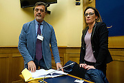 Rome jan 19th 2016, press conference to present the proposal to set up a commission of inquiry on the subject of ill-treatment and abuse of persons in conditions of deprivation or limitation of personal freedom. In the picture Fabio Anselmo, lawyer, and Ilaria Cucchi <br /> the woman who is fighting to learn the truth about the death of his brother Stefano Cucchi, died while in custody in jail