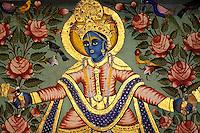 Inde. Rajasthan. Region du Shekawati. Village de Mandawa. peinture de Krishna // India. Rajasthan. Shekawati area. mandawa village. Krishna.