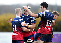 Reiss Cullen of Bristol Bears United celebrates his try - Mandatory by-line: Paul Knight/JMP - 02/12/2018 - RUGBY - Clifton RFC - Bristol, England - Bristol Bears United v Harlequins - Premiership Rugby Shield