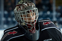 KELOWNA, BC - JANUARY 4: David Tendeck #30 of the Vancouver Giants stands at the bench during warm up against the Kelowna Rockets at Prospera Place on January 4, 2020 in Kelowna, Canada. (Photo by Marissa Baecker/Shoot the Breeze)