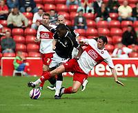 Photo: Mark Stephenson.<br /> Walsall v Port Vale. Coca Cola League 1. 08/09/2007.Walsall's Danny Sonner on the ball