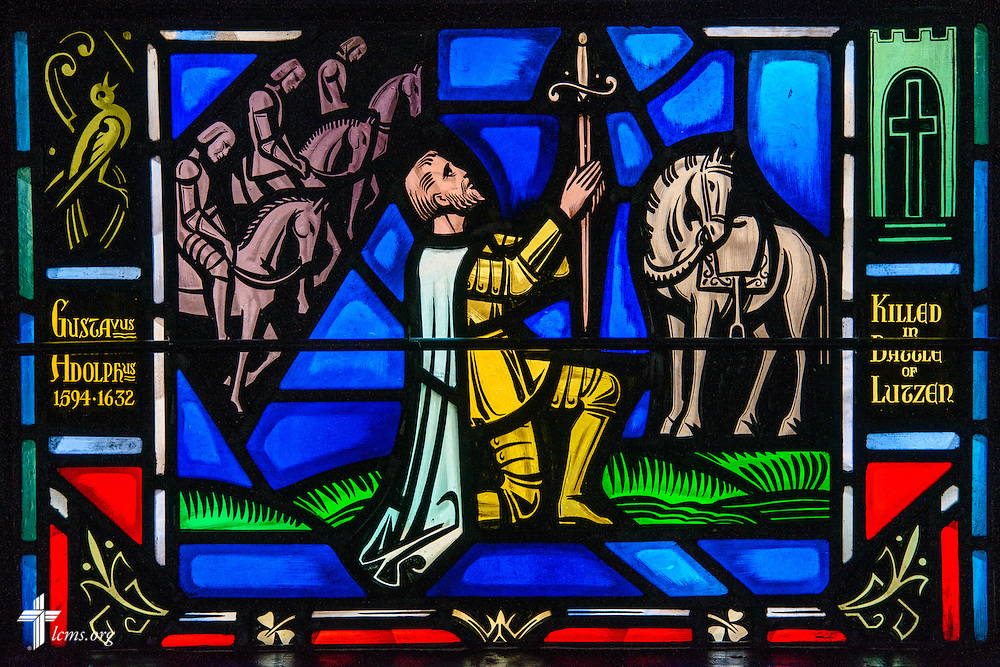 Stained glass at Luther Memorial Chapel depicts Gustavus Adolphus, 1594-1632, on Friday, Jan. 29, 2016, in Shorewood, Wis. LCMS Communications/Erik M. Lunsford