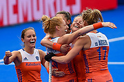 The Netherlands celebrate scoring a goal during the Vitality Hockey Women's World Cup 2018 Pool A match between the Netherlands and Italy at the Lee Valley Hockey and Tennis Centre, QE Olympic Park, United Kingdom on 29 July 2018. Picture by Martin Cole.
