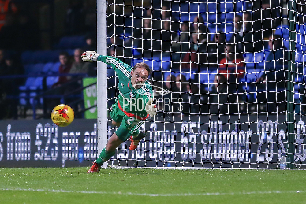 Bolton Wanderers midfielder Neil Danns  scores past Brentford goalkeeper David Button  during the Sky Bet Championship match between Bolton Wanderers and Brentford at the Macron Stadium, Bolton, England on 30 November 2015. Photo by Simon Davies.