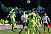 Huddersfield Town midfielder Joe Lolley heads the ball clear during the Sky Bet Championship match between Derby County and Huddersfield Town at the iPro Stadium, Derby, England on 5 March 2016. Photo by Aaron Lupton.