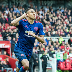 Jesse Lingard of Manchester United celebrates scoring Uniteds 2nd and his first of the match midway through the second half. Middlesborough v Manchester United, Barclays English Premier League, 19th March 2017. (c) Paul Cram | SportPix