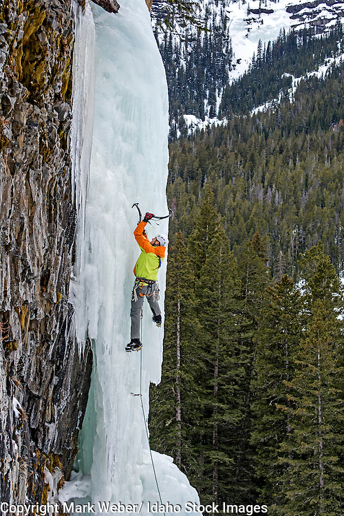 Elijah Weber ice climbing a route called Thin Chance which is rated WI-4,5 and located in Hyalite Canyon in the Gallatin Mountains near the city of Bozeman in southern Montana