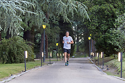 "Spanish Prime Minister, Pedro Sanchez, before starting an important week of work, gets ready with a morning run and, after greeting his female dog ""Turca"", he meets with his team and with the vice president and minister of the Presidency of Relations with the Courts and Equality, Carmen Calvo, to prepare his agenda, Madrid; Spain on June 18, 2018. Photo by Almagro/ABACAPRESS.COM"