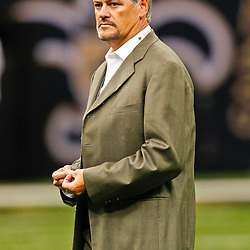 August 17, 2012; New Orleans, LA, USA; New Orleans Saints general manager Mickey Loomis prior to kickoff of a preseason game against the Jacksonville Jaguars at the Mercedes-Benz Superdome. Mandatory Credit: Derick E. Hingle-US PRESSWIRE