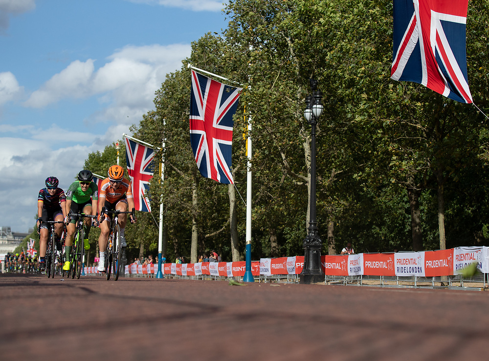 Riders racing along The Mall. The Prudential RideLondon Classique. Saturday 28th July 2018<br /> <br /> Photo: Ian Walton for Prudential RideLondon<br /> <br /> Prudential RideLondon is the world's greatest festival of cycling, involving 100,000+ cyclists - from Olympic champions to a free family fun ride - riding in events over closed roads in London and Surrey over the weekend of 28th and 29th July 2018<br /> <br /> See www.PrudentialRideLondon.co.uk for more.<br /> <br /> For further information: media@londonmarathonevents.co.uk