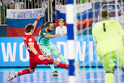 Dmitri Lyskov of Russia and Ricardinho of Portugal during futsal semifinal match between National teams of Russia and Portugal at Day 9 of UEFA Futsal EURO 2018, on February 8, 2018 in Arena Stozice, Ljubljana, Slovenia. Photo by Urban Urbanc / Sportida