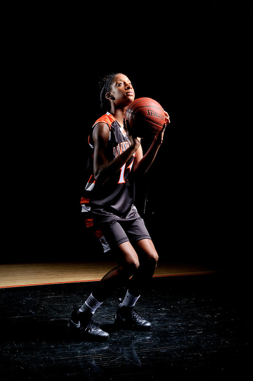 (staff photo by Matt Roth)..Oakland Mills' junior Jasmine Hill is the county's leading scorer of returning players. She is photographed in the Oakland Mills gym Wednesday, November 24, 2010.