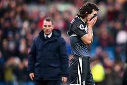 Caglar Soyuncu of Leicester City cuts a dejected figure as Leicester City manager Brendan Rogers looks on - Mandatory by-line: Robbie Stephenson/JMP - 19/01/2020 - FOOTBALL - Turf Moor - Burnley, England - Burnley v Leicester City - Premier League