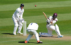 Somerset's Abdur Rehman sweeps the ball off the bowling of Durham's Scott Borthwick.  - Photo mandatory by-line: Harry Trump/JMP - Mobile: 07966 386802 - 14/04/15 - SPORT - CRICKET - LVCC County Championship - Day 3 - Somerset v Durham - The County Ground, Taunton, England.