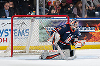 KELOWNA, BC - JANUARY 11: Dylan Garand #31 of the Kamloops Blazers makes a first period save against the Kelowna Rockets at Prospera Place on January 11, 2020 in Kelowna, Canada. (Photo by Marissa Baecker/Shoot the Breeze)