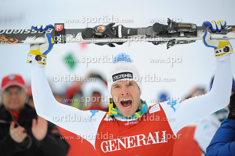 25.01.2013, Streif, Kitzbuehel, AUT, FIS Weltcup Ski Alpin, Super G, Herren, Podium, im Bild Christof Innerhofer (ITA, Platz 3) // 3th place Christof Innerhofer of Italy celebrate on podium during the mens SuperG of the FIS Ski Alpine World Cup at the Streif course, Kitzbuehel, Austria on 2013/01/25. EXPA Pictures © 2013, PhotoCredit: EXPA/ Erich Spiess