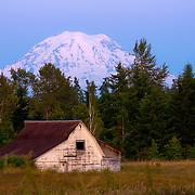 View of Mt. Rainier at dusk near Tacoma, WA