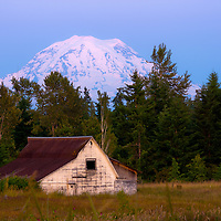 View of Mt. Rainier at dusk near Tacoma, WA