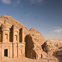 View of the Monastery facade, Petra, jordan, Asia.