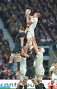 Twickenham, Great Britain,  Sub lock, George KRUIS, collects a clean line out ball during the QBE Autumn International, England vs New Zealand, RFU Stadium Twickenham, Surrey.  Saturday 08/11/2014 [Mandatory Credit; Peter SPURRIER/Intersport Images]