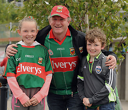 Mayo Supporter Grainne, Aidan and Joseph Loftus from Crossmolina at McHale park for the All Ireland qualifer against Derry.<br />Pic Conor McKeown