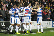 GOAL 1-1 Queens Park Rangers players celebrate QPR midfielder Massimo Luongo (21) equaliser during the EFL Sky Bet Championship match between Queens Park Rangers and Brentford at the Loftus Road Stadium, London, England on 10 November 2018.