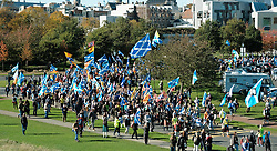 All Under One Banner Independence March, Edinburgh, Saturday 6th October 2018<br /> <br /> Pictured: Marchers pass Scottish parliament<br /> <br /> (c) Aimee Todd | Edinburgh Elite media