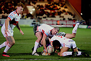 The Hull KR defence stop a Giants attack  during the Betfred Super League match between Hull Kingston Rovers and Huddersfield Giants at the Hull College Craven Park  Stadium, Hull, United Kingdom on 21 February 2020.