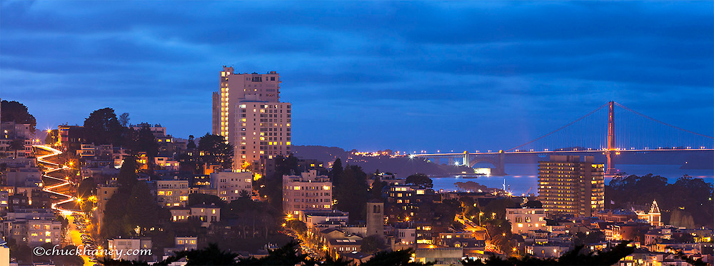 Panoramic from Coit Hill showing Lombard Street and the Golden Gate Bridge in San Francisco, California, USA