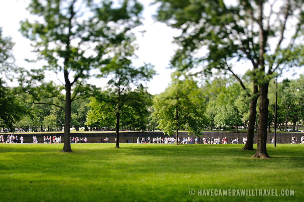 Vietnam War Memorial tilt-shift. NB: This is using tilt-shift photographic technique and has a very narrow field of focus.