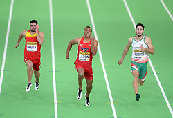 Ashton Eaton of the United States (C) leads as he compets in the Men's Heptathlon 60 metres hurdles during day two of the IAAF World Indoor Championships at Oregon Convention Center in Portland, Oregon, the United States, on March 18, 2016. EXPA Pictures © 2016, PhotoCredit: EXPA/ Photoshot/ Yin Bogu<br /> <br /> *****ATTENTION - for AUT, SLO, CRO, SRB, BIH, MAZ, SUI only*****