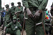 Wounded and amputee SPLA veterans at the official independence day ceremony. After decades of conflict, Southern Sudan declared independence from the North on July 9th, 2011. Government officials, foreign dignitaries and ordinary people came to the John Garang Memorial in the capital from all over the country and the world to celebrate the historic occation..Juba, South Sudan. 09/07/2011..Photo © J.B. Russell