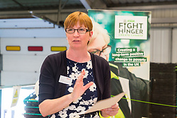 Lauren Anning, Chair of the Board of Trustees of FareShare speaks at the opening of FareShare's relocated warehouse in Ashford, Kent. Ashford, Kent, May 23 2019.