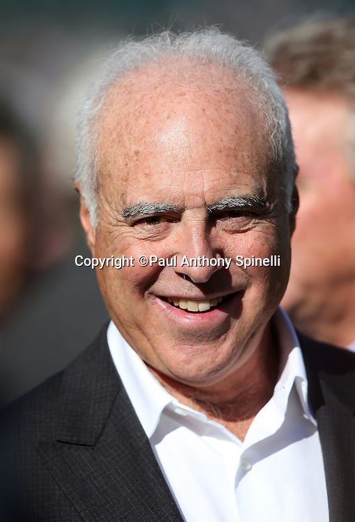 Philadelphia Eagles owner Jeffrey Lurie smiles during a field level visit before the Philadelphia Eagles 2015 week 10 regular season NFL football game against the Miami Dolphins on Sunday, Nov. 15, 2015 in Philadelphia. The Dolphins won the game 20-19. (©Paul Anthony Spinelli)