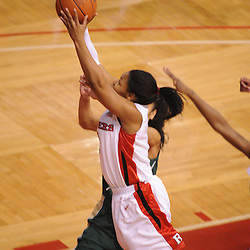 Jan 31, 2009; Piscataway, NJ, USA; Rutgers guard Khadijah Rushdan (1) puts up a shot against South Florida guard Jazmine Sepulveda (4) during the second half of South Florida's 59-56 victory over Rutgers in NCAA women's college basketball at the Louis Brown Athletic Center