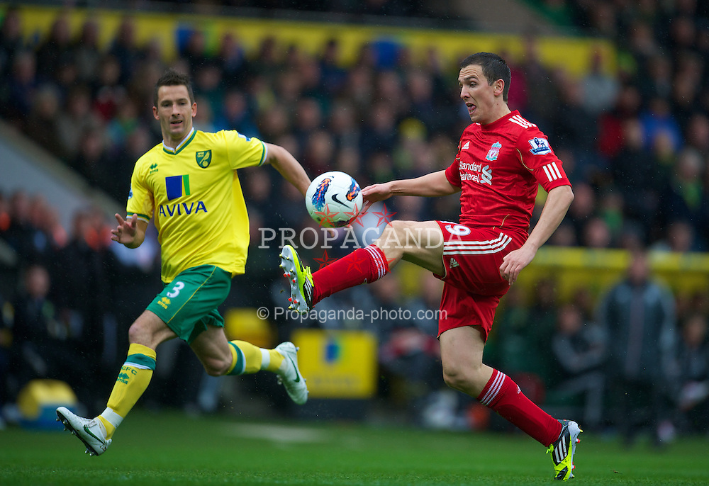 NORWICH, ENGLAND - Saturday, April 28, 2012: Liverpool's Stewart Downing in action against Norwich City during the Premiership match at Carrow Road. (Pic by David Rawcliffe/Propaganda)