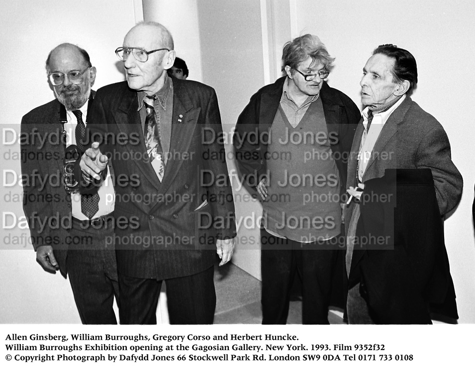 Allen Ginsberg, William Burroughs, Gregory Corso and Herbert Huncke. William Burroughs Exhibition opening at the Gagosian Gallery. New York. 1993. Film 9352f32<br /> © Copyright Photograph by Dafydd Jones<br /> 66 Stockwell Park Rd. London SW9 0DA<br /> Tel 0171 733 0108